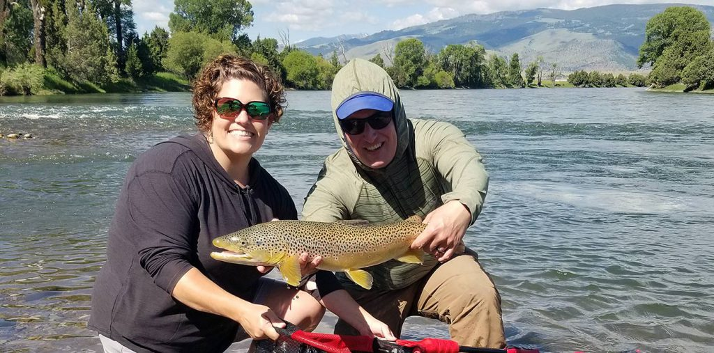 Large Yellowstone River brown trout caught on a trip with one of our Montana fly fishing guides.