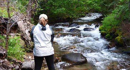 Young woman fishing a small Montana creek