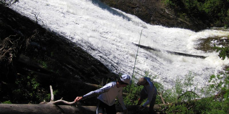 Young anglers climbing up after spring yellowstone fishing trip on the Gibbon