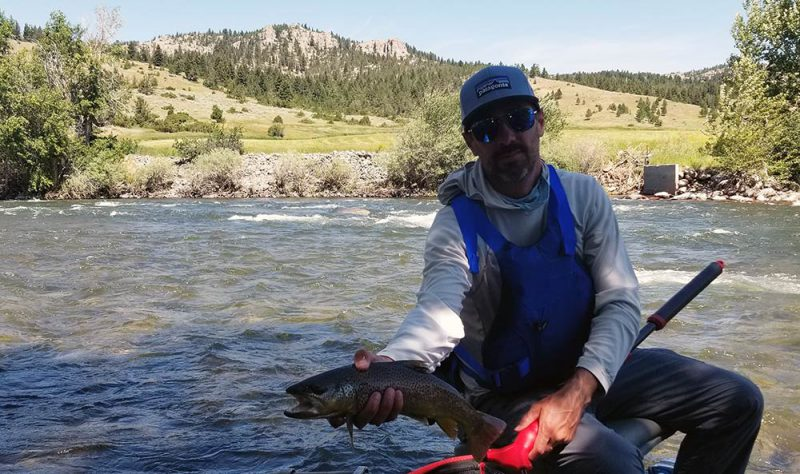 boulder river fishing client with brown trout
