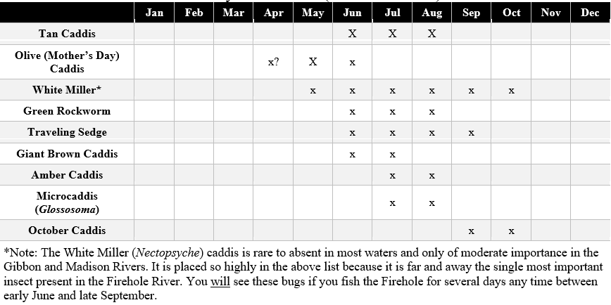 yellowstone and montana caddisfly hatches chart