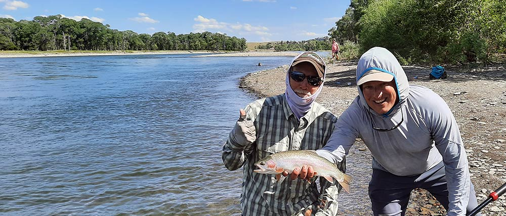 lower yellowstone river, yellowstone river fishing guide, client, and rainbow trout