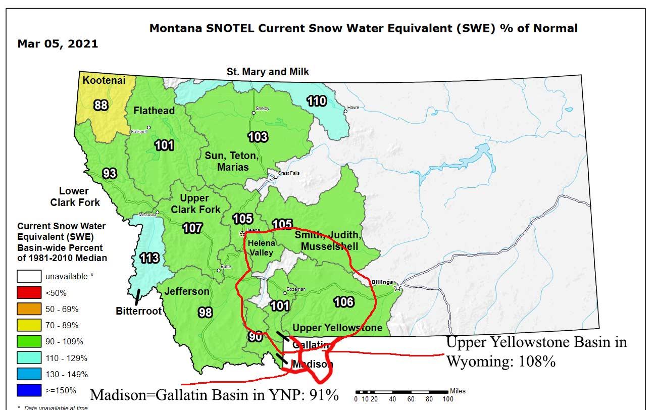 Montana snowpack for Mar 6 2021