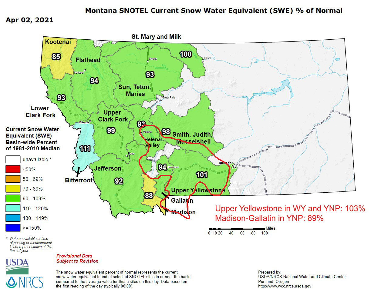 early april montana snowpack update